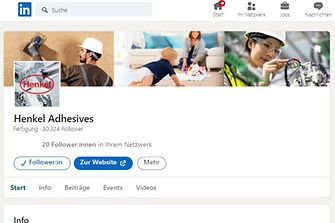 The new Henkel Adhesives global LinkedIn page